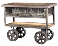 Буфет Irn Wdn Trolley 15004. Цвет натуральный. Комод в стиле Лофт. Ручная работа. Сделано в Индии.