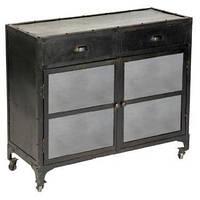 Буфет Sideboard 15050. Цвет чёрный. Буфет в стиле Лофт. Ручная работа. Сделано в Индии.