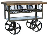 Барная станция Console Cart KPCN-1161. Дерево манго, в стиле Лофт. Ручная работа. Ganesha Design.
