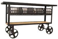 Барная станция Console Cart KPCN-1104. Дерево манго, в стиле Лофт. Ручная работа. Ganesha Design.