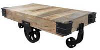 Журнальный столик Cart Coffee Table KPTC-1216A. Массив дерево Манго. Столик в стиле Лофт. Ручная работа. Сделано в Индии.