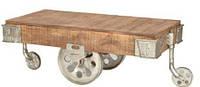 Журнальный столик Cart Coffee Table KPTC-1216NC. Массив дерево Манго. Столик в стиле Лофт. Ручная работа. Сделано в Индии.