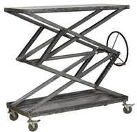 Стол консольный на колёсах CONSOLE TABLE KPCN-1107. Цвет стальной. Стол консольный в стиле Лофт. Ручная работа. Сделано в Индии.
