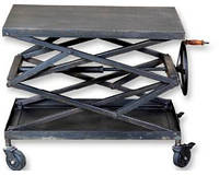 Стол консольный на колёсах CONSOLE TABLE KPCN-1154. Цвет стальной. Стол консольный в стиле Лофт. Ручная работа. Сделано в Индии.
