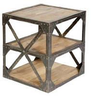 Столик Side Table KPMD-1113. Металл, дерево. В стиле Лофт. Ручная работа. Сделано в Индии.