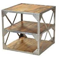 Столик Side Table-Nickle KPMD-1113NC. Металл, дерево. В стиле Лофт. Ручная работа. Сделано в Индии.