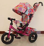 Детский трехколесный велосипед Tilly Trike (T-363-1 МАЛИНОВЫЙ/БЕЛЫЙ) с козырьком