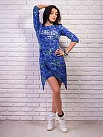 Великолепное молодежное платье - туника с принтом джинс