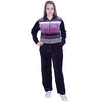 Велюровый женский спортивный костюм фиолетового цвета