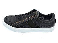 Мужские мокасины с натуральной кожи нубук перфорация Multi Shoes Solo Jeans Black Размер: 43 44
