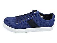 Мужские мокасины с натуральной кожи нубук перфорация Multi Shoes Solo Jeans Blue Размер: 42 43 44