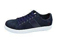 Мужские мокасини с натуральной кожи нубук перфорация Multi Shoes Solo Blue