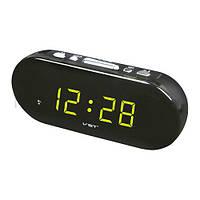 Часы со светодиодной индикацией 715-2, будильник, отсрочка, зеленая подсветка, черный корпус