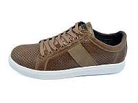 Мужские мокасини с натуральной кожи перфорация Multi Shoes Solo Caramel Размер:  42