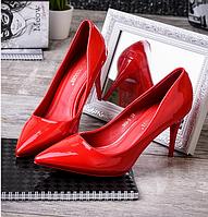 Супер классные красные туфли-лодочки каблук O-12780