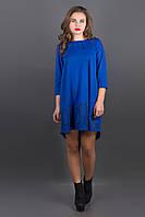 Платье Гретти (электрик) расклешенное с декоративной строчкой 44-52 размера