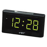 Часы на светодиодных индикаторах VST 732-2 зеленые, будильник, выбор мелодии, резервное питание