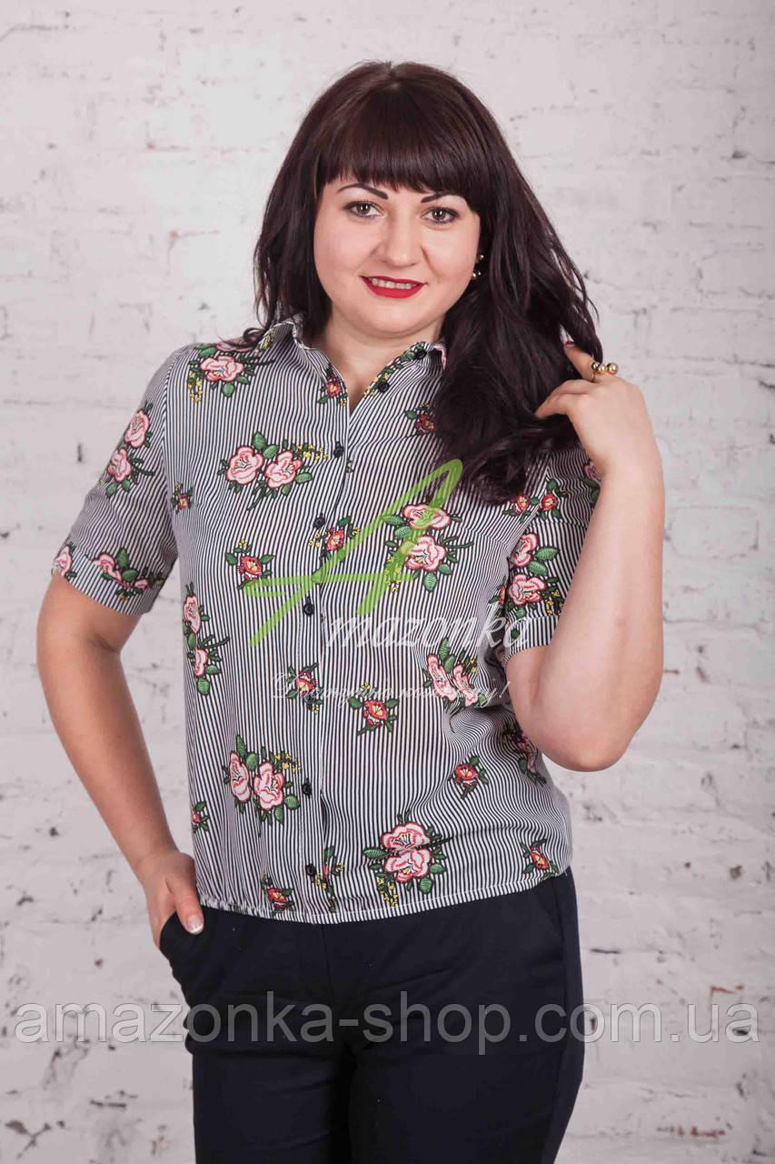 Цветочная женская блузка от AMAZONKA - (код бл-99)