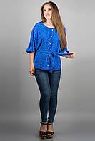 Женская рубашка Лолита (электрик) из штапеля свободного кроя с широкими рукавами 46-54 размера
