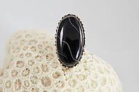 Серебряное кольцо с чёрным агатом 16,75 р