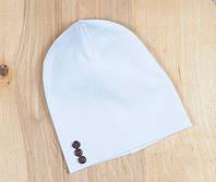 Шапочка с пуговками, белая, 3 размера, 42-54 см