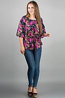 Женская рубашка Лолита (розовые цветы) из штапеля свободного кроя с широкими рукавами 46-54 размера