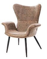 Дизайнерское кресло Контур К-20, винтажный кожзам оттенка кофе на деревянных ножках Featherston Contour Chair