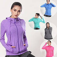 Женская спортивная кофта для фитнеса, кофты для бега, одежда для спорта, тонкая кофточка, с капюшоном