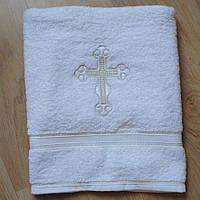 Крижма-рушник для хрещення з православним хрестиком вишивка з однієї сторони