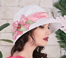Летняя женская шляпа с полями из натуральной  соломки