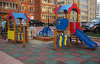 Резиновое напольное покрытие для спортивной детской площадки. Резиновые маты.10 мм.Упрочненные., фото 1
