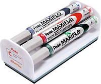 Маркер для доски Набор маркеров  для белой доски с магнитой губкой Pentel Maxiflo MWL5S-4N 4,0мм (MWL5S-4N x 57499)