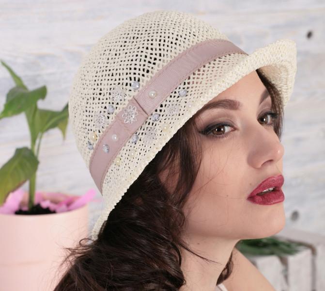 Річна капелюх з маленькими полями з натуральної соломки