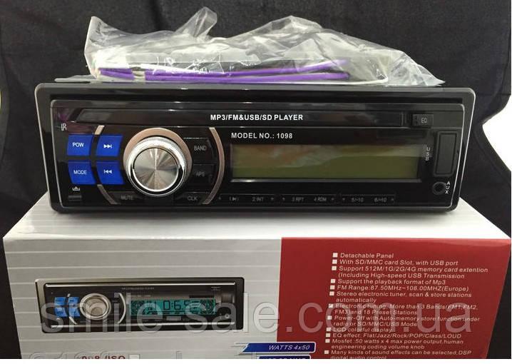 Автомагнитола Pioneer 1098 с USB+micro SD, FM, AUX+съемная панель, фото 1