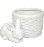 Кашпо керамическое с  зайцем