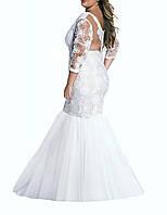 Силуэт Русалки Белого Гипюрового Платья Большого Размера на Свадьбу