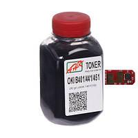 Тонер+чип АНК для OKI B401/MB441/MB451 ( тонер АНК, чип АНК) бутль 80г Black (1401336)