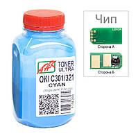 Тонер+чип АНК для OKI C301/321 ( тонер АНК, чип АНК) бутль 50г Cyan (1505326)