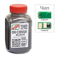Тонер+чип АНК для OKI C301/321 ( тонер АНК, чип АНК) бутль 60г Black (1505325)