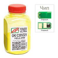 Тонер+чип АНК для OKI C301/321 ( тонер АНК, чип АНК) бутль 50г Yellow (1505328)