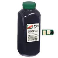 Тонер+чип АНК для OKI MB461/MB471/491 ( тонер АНК, чип АНК) бутль 240г Black (1401337)