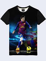 """Мужская легкая стильная 3D-футболка """"Месси Барселона"""" с фотопринтом известного футболиста."""