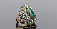 320 - Бижутерия массивное кольцо с кристаллами