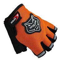 Перчатки велосипедные беспалые вело велоперчатки оранжевые Grid