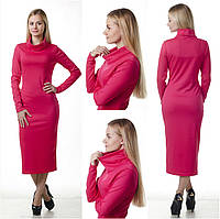 Удлиненное женское платье - свитер с воротником-хомут  (гольф - водолазка), фото 1