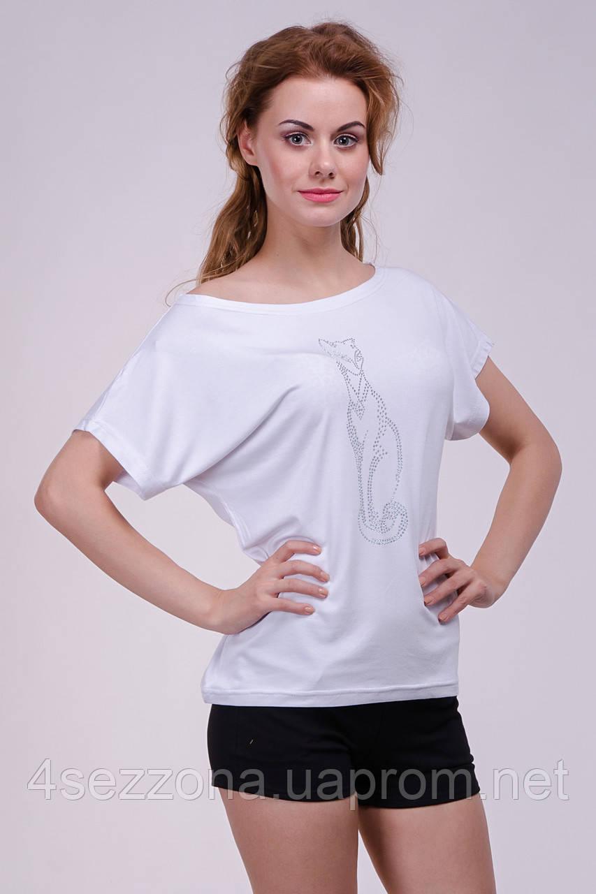 Женская футболка - хулиганка, стразы - кошка