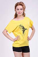 """Женская футболка - Хулиганка """"Колибри"""", разлетайка из вискозы , фото 1"""