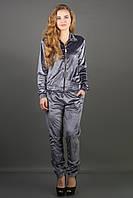 Велюровый спортивный костюм Ленди (серый) 44-52 размера