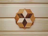 Деревянная подставка под чашку 10 см, шестиугольная