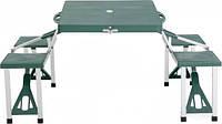 Раскладной стол со стульями для пикника HXPT-8821-B: 4 стула, стол, 85х64,5х66,5 см, зелёный